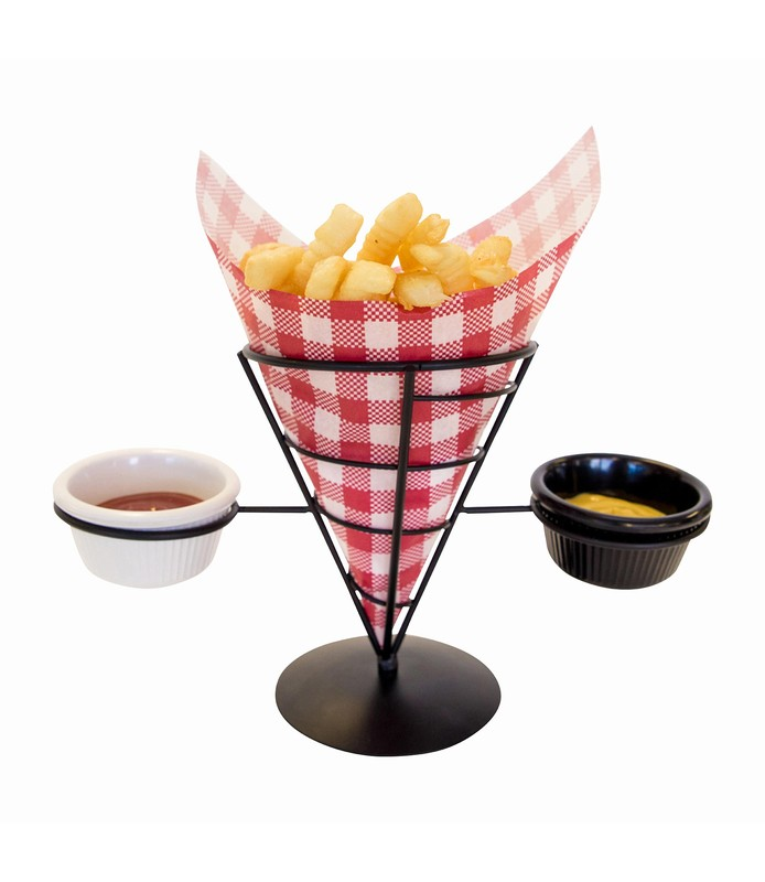 Wire French Fry Holder 2 Sauce Compartments