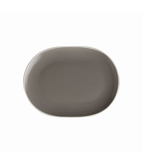Mist Oval Coupe Plate Grey 200 x 150mm