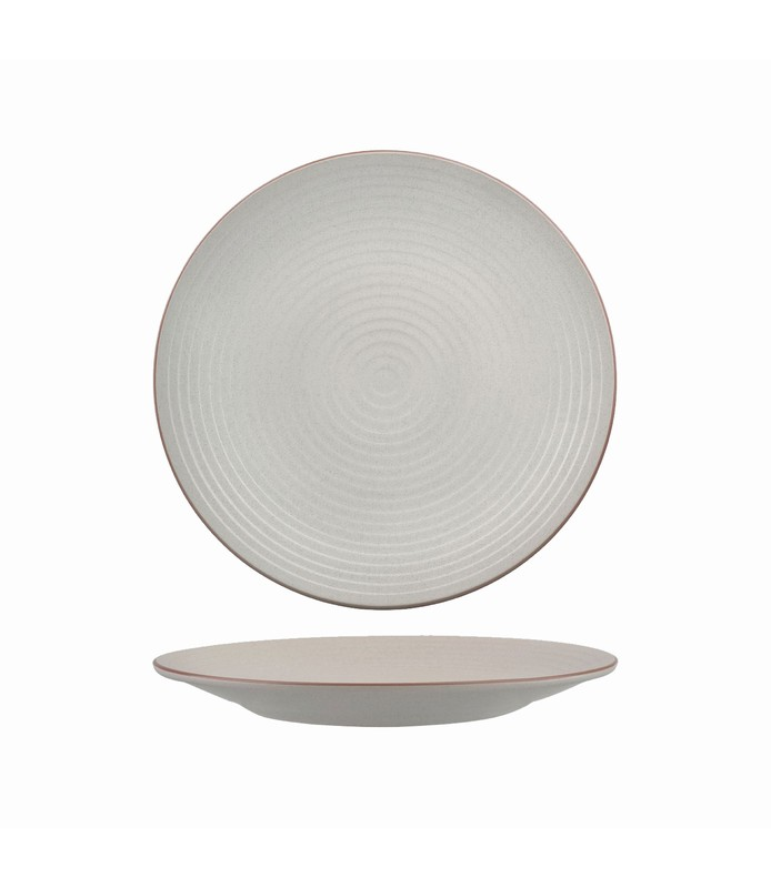 Zuma Plate Round Ribbed Mineral 210mm