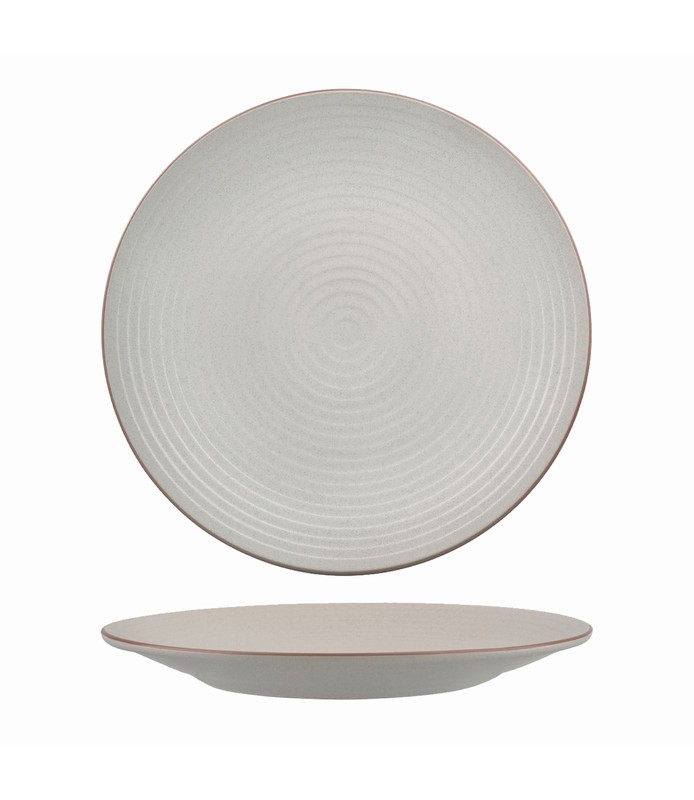 Zuma Plate Round Ribbed Mineral 265mm