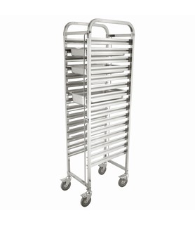Stainless Steel 15 Tier Steam Pan Trolley