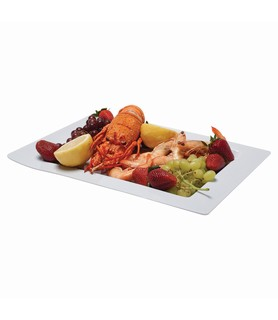 Melamine Wave Platter White 430 x 285 x 34mm