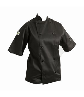 HEADCHEF Chef Jacket Classic Short Sleeve Black Extra Large