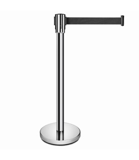 Stainless Steel Barrier Stand With Black Retractable Belt