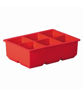 Avanti Red Ice Cube Tray King 6 Cup 115 X 165 X 50mm